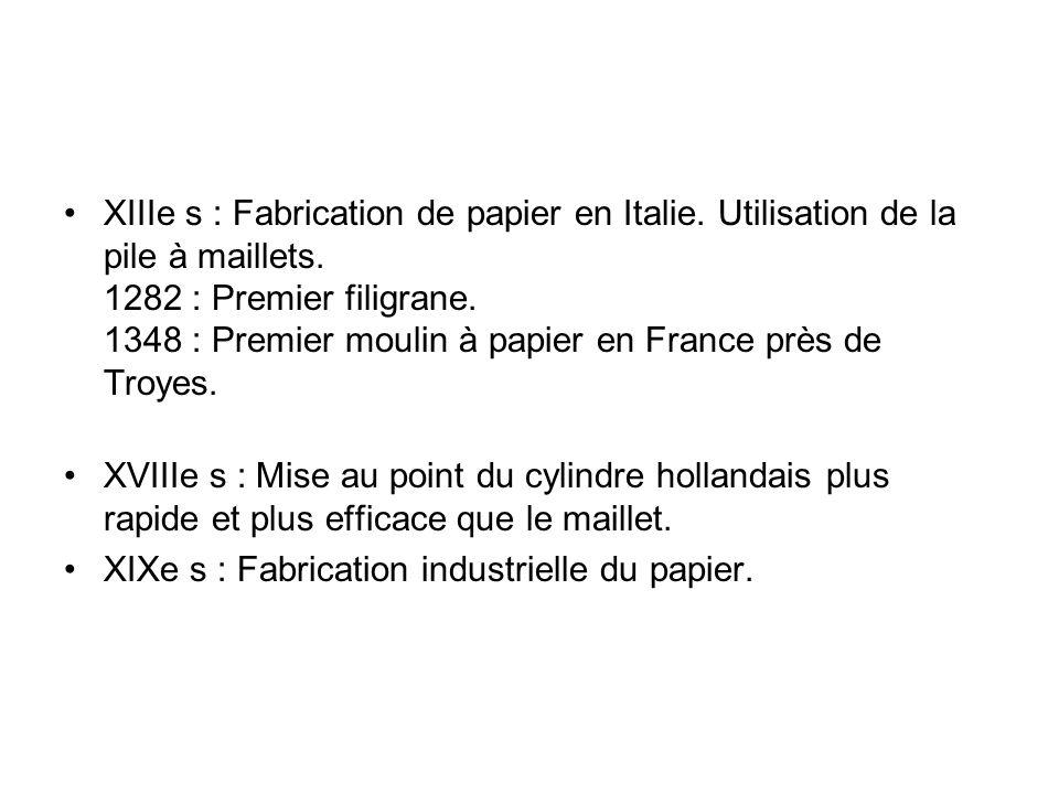 XIIIe s : Fabrication de papier en Italie