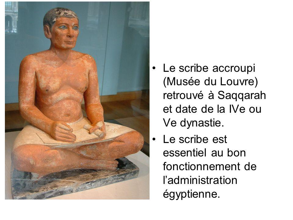 Le scribe accroupi (Musée du Louvre) retrouvé à Saqqarah et date de la IVe ou Ve dynastie.