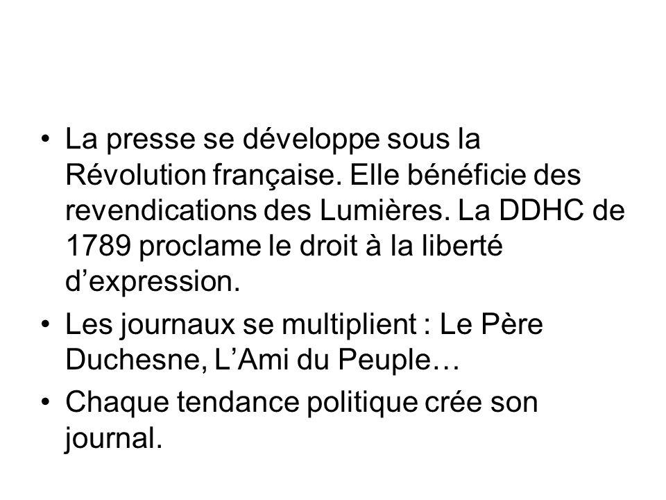 La presse se développe sous la Révolution française