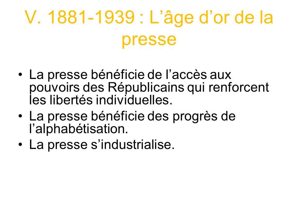 V. 1881-1939 : L'âge d'or de la presse