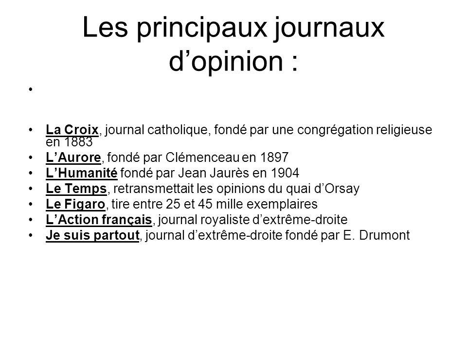 Les principaux journaux d'opinion :