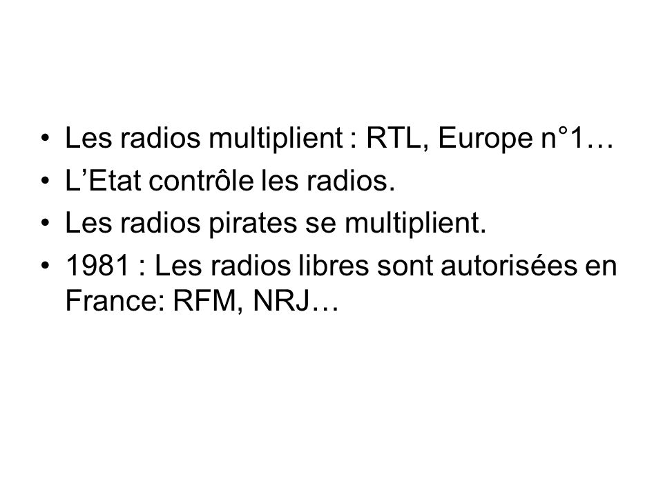 Les radios multiplient : RTL, Europe n°1…