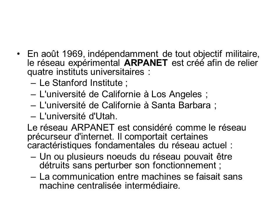 En août 1969, indépendamment de tout objectif militaire, le réseau expérimental ARPANET est créé afin de relier quatre instituts universitaires :