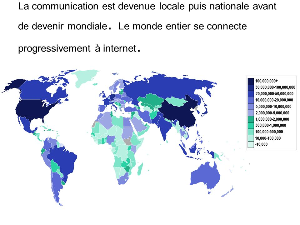 La communication est devenue locale puis nationale avant de devenir mondiale.