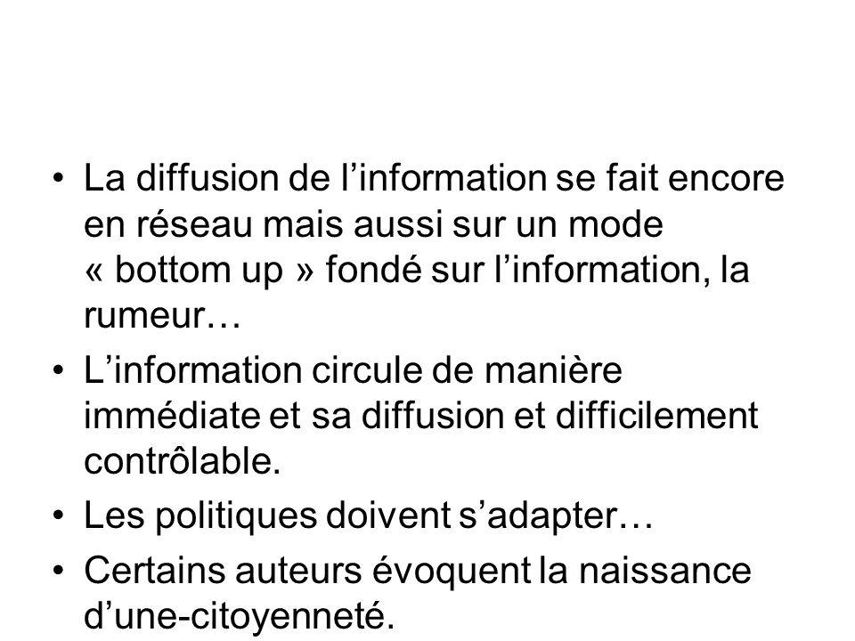 La diffusion de l'information se fait encore en réseau mais aussi sur un mode « bottom up » fondé sur l'information, la rumeur…