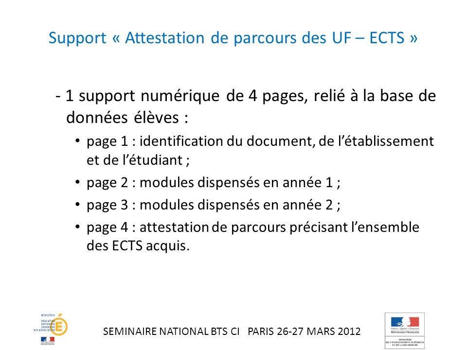 Support « Attestation de parcours des UF – ECTS »
