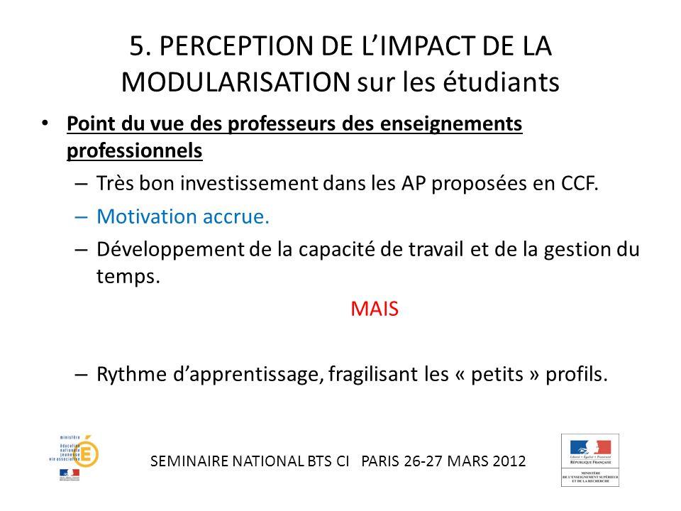 5. PERCEPTION DE L'IMPACT DE LA MODULARISATION sur les étudiants