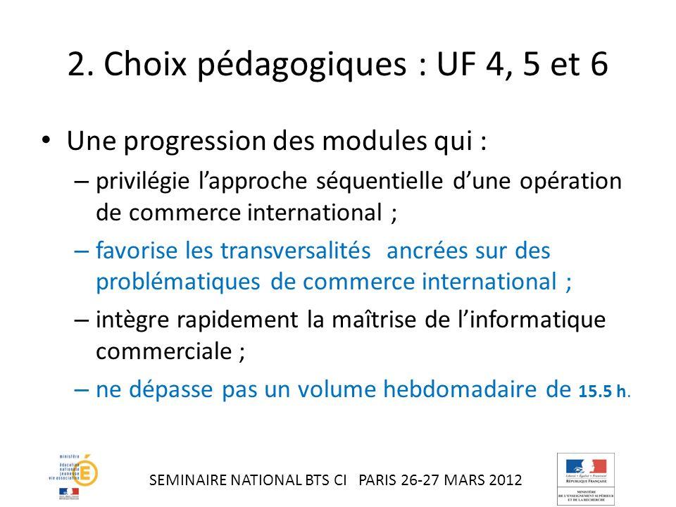 2. Choix pédagogiques : UF 4, 5 et 6