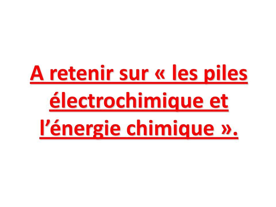 A retenir sur « les piles électrochimique et l'énergie chimique ».