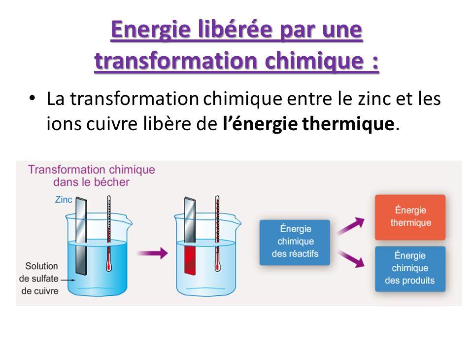Energie libérée par une transformation chimique :