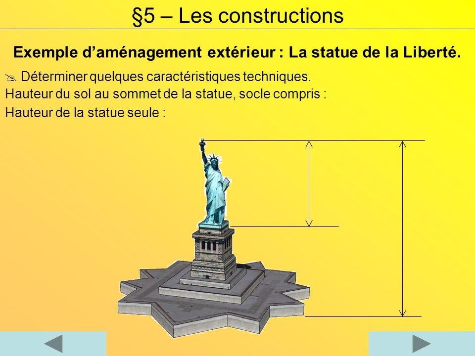 §5 – Les constructions Exemple d'aménagement extérieur : La statue de la Liberté.  Déterminer quelques caractéristiques techniques.