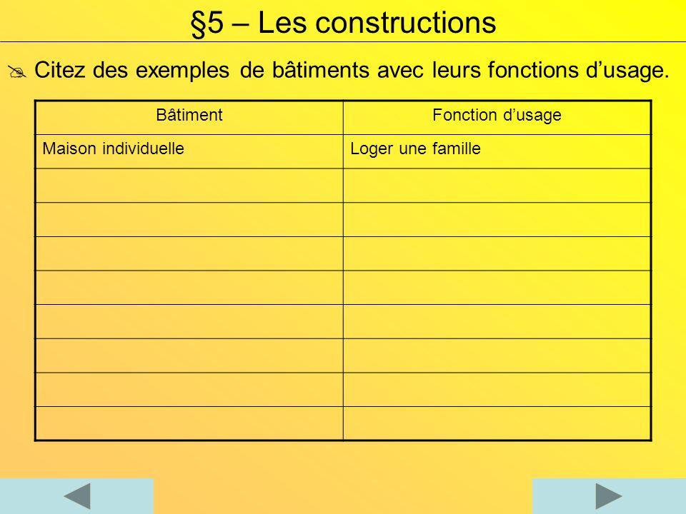 §5 – Les constructions  Citez des exemples de bâtiments avec leurs fonctions d'usage. Bâtiment. Fonction d'usage.