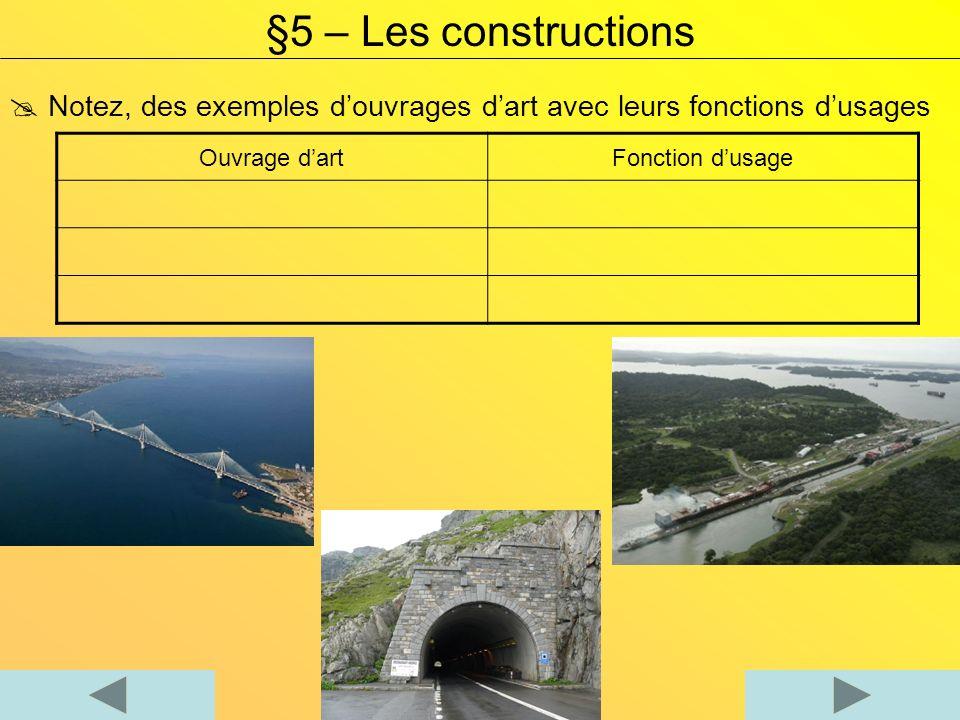 §5 – Les constructions  Notez, des exemples d'ouvrages d'art avec leurs fonctions d'usages. Ouvrage d'art.