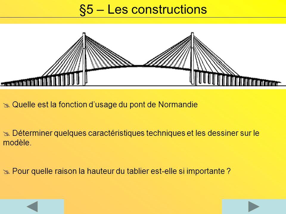 §5 – Les constructions Quelle est la fonction d'usage du pont de Normandie.