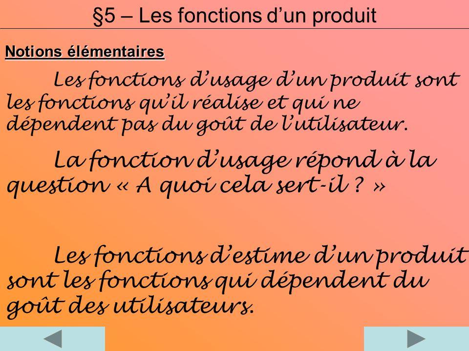 §5 – Les fonctions d'un produit