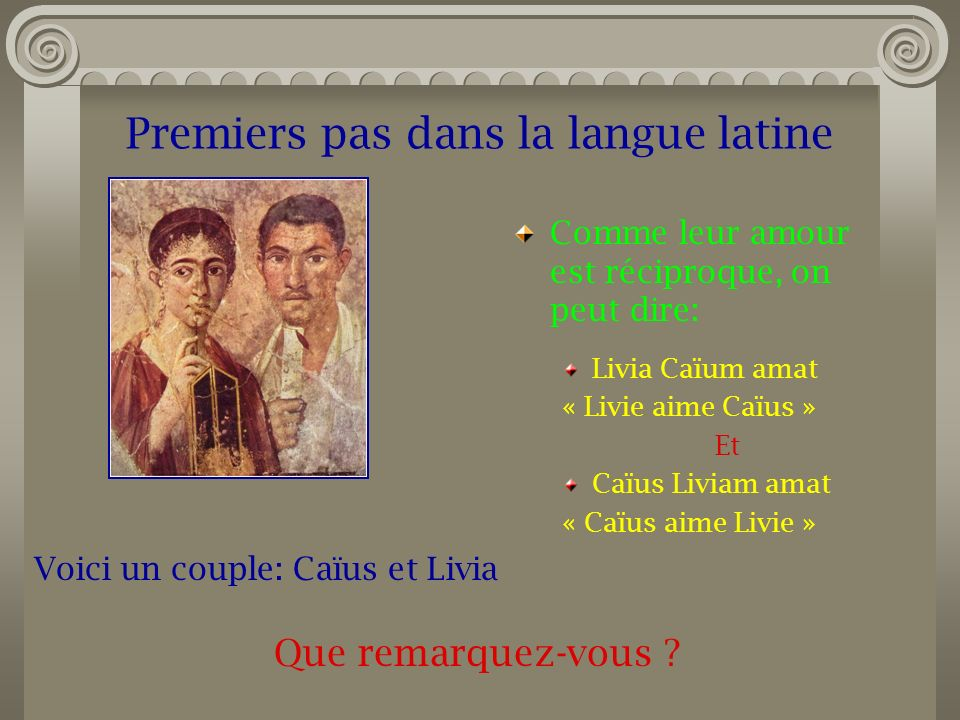 Premiers pas dans la langue latine