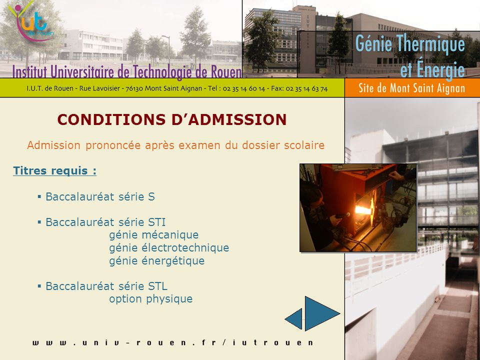 CONDITIONS D'ADMISSION