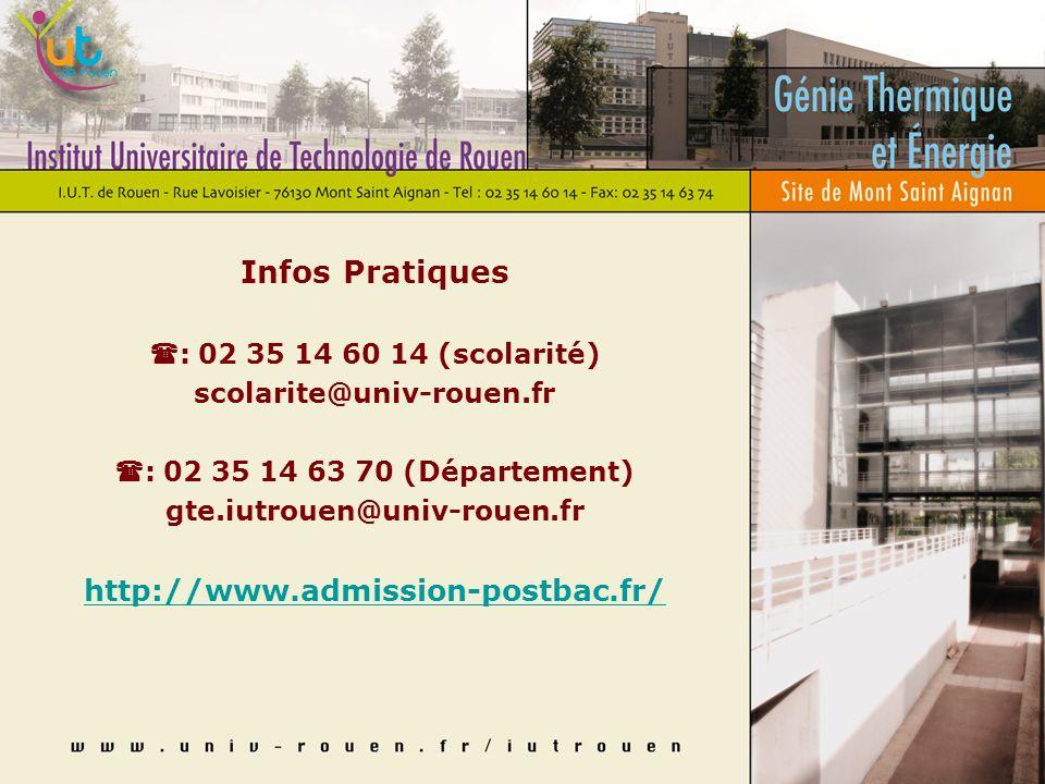 Infos Pratiques : 02 35 14 60 14 (scolarité) scolarite@univ-rouen.fr