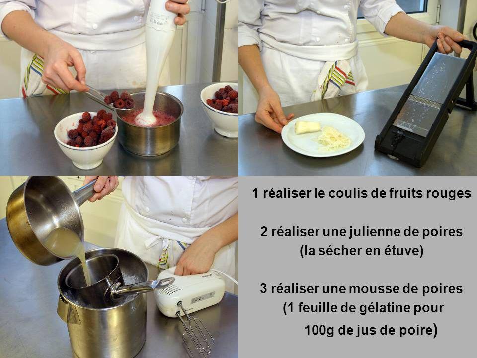 1 réaliser le coulis de fruits rouges 2 réaliser une julienne de poires (la sécher en étuve) 3 réaliser une mousse de poires (1 feuille de gélatine pour 100g de jus de poire)