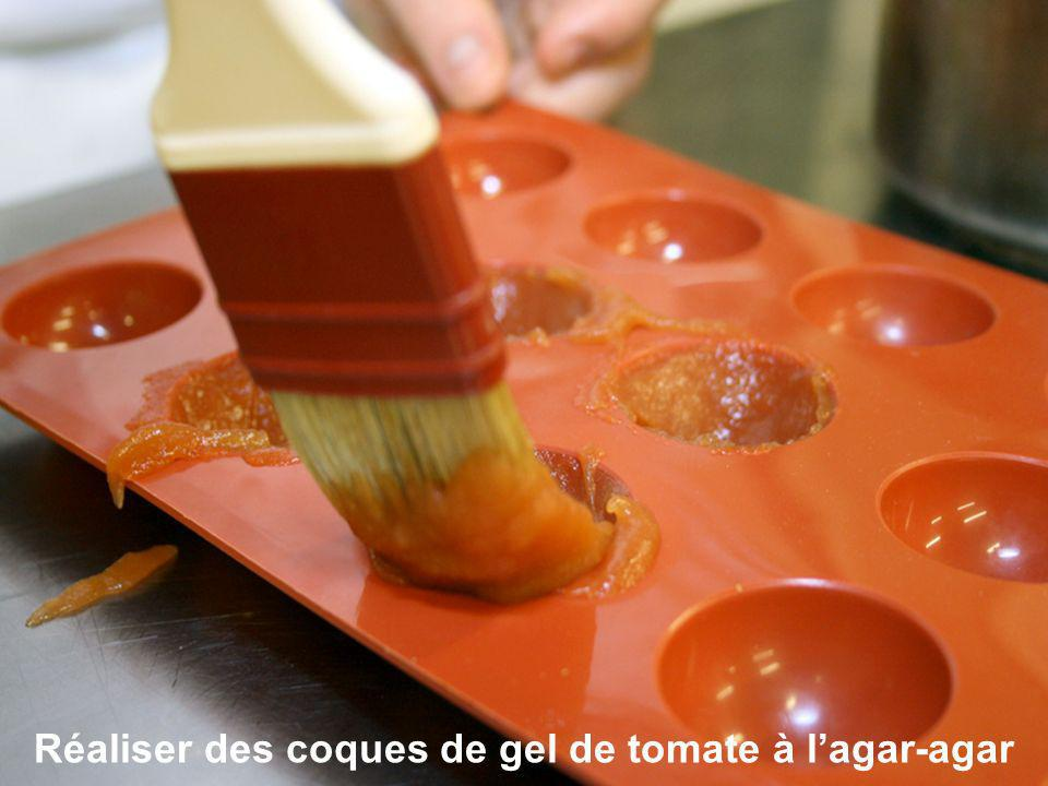 Réaliser des coques de gel de tomate à l'agar-agar