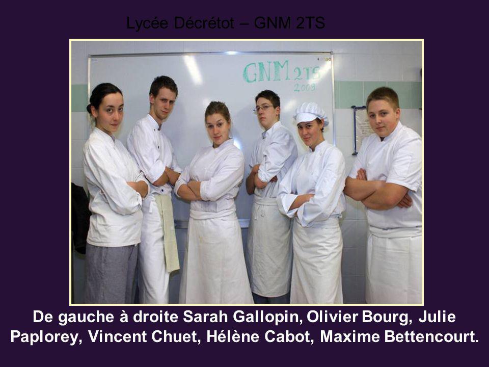 Lycée Décrétot – GNM 2TS De gauche à droite Sarah Gallopin, Olivier Bourg, Julie Paplorey, Vincent Chuet, Hélène Cabot, Maxime Bettencourt.