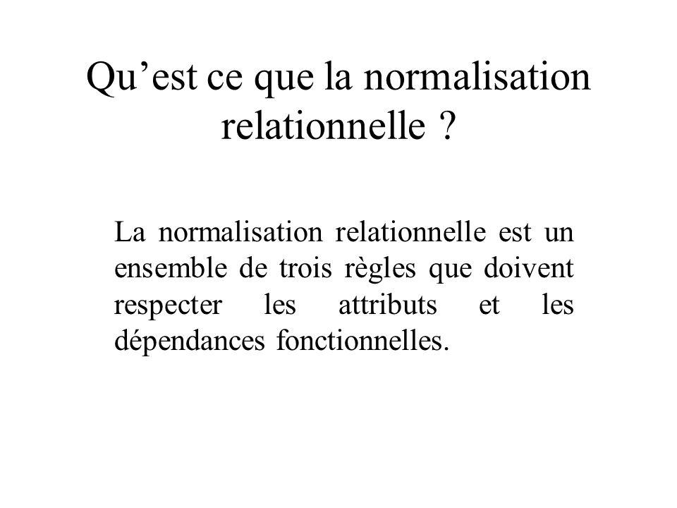 Qu'est ce que la normalisation relationnelle