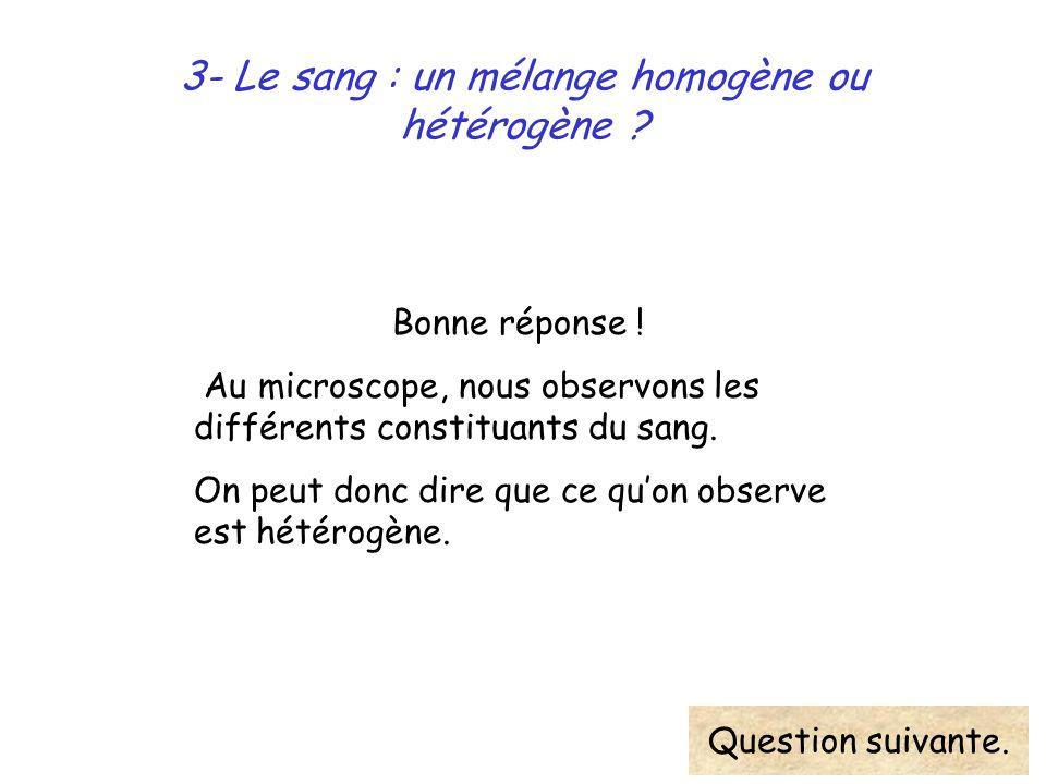 3- Le sang : un mélange homogène ou hétérogène