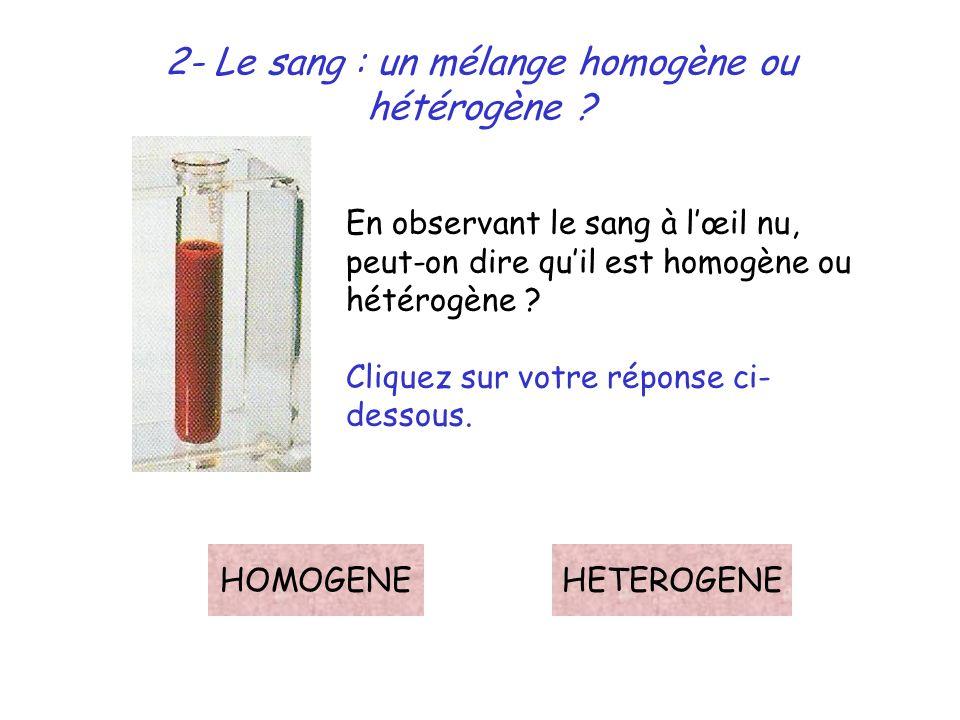 2- Le sang : un mélange homogène ou hétérogène