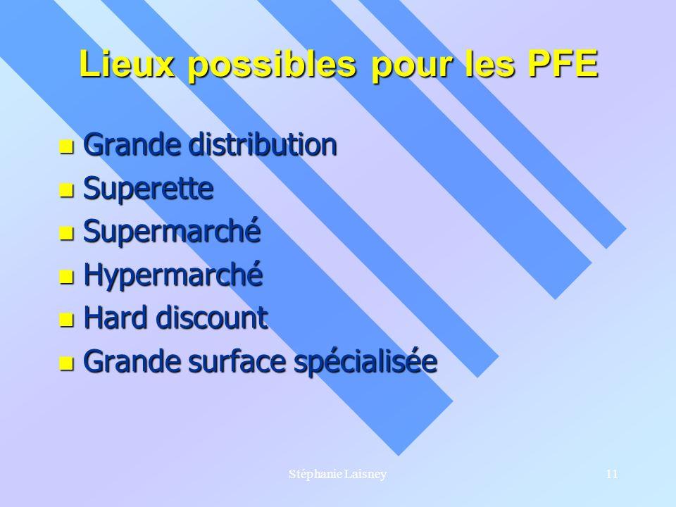 Lieux possibles pour les PFE