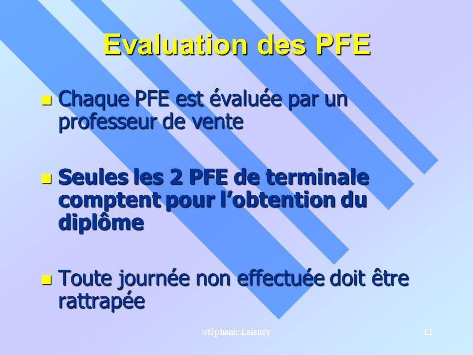 Evaluation des PFE Chaque PFE est évaluée par un professeur de vente
