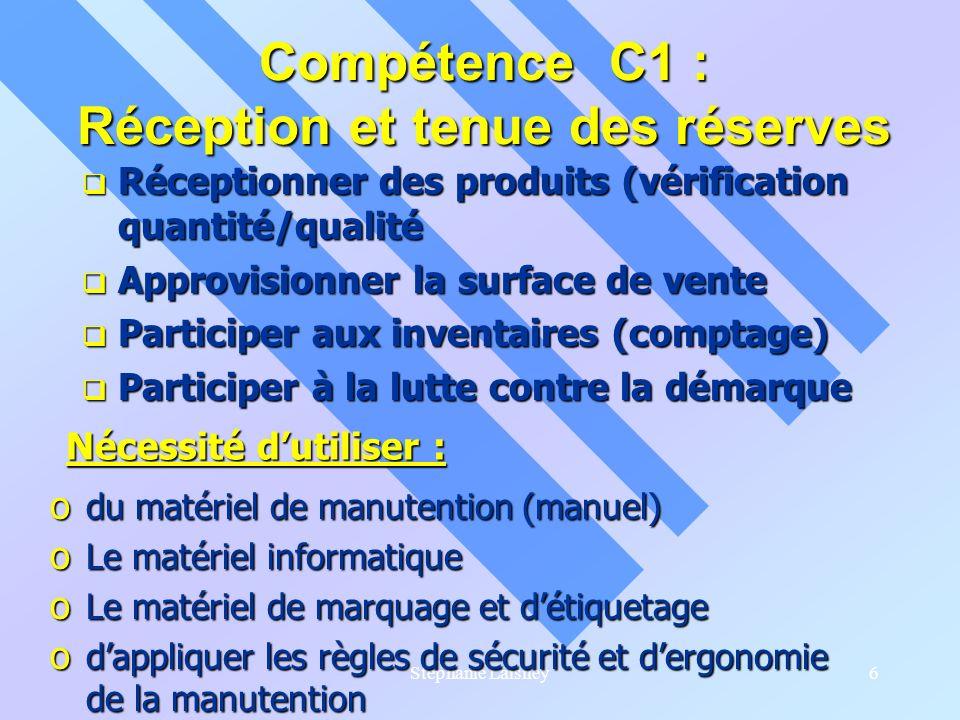 Compétence C1 : Réception et tenue des réserves