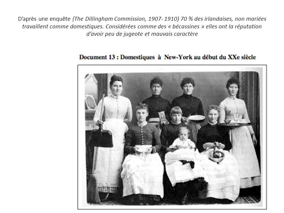 D'après une enquête (The Dillingham Commission, 1907- 1910) 70 % des irlandaises, non mariées travaillent comme domestiques.