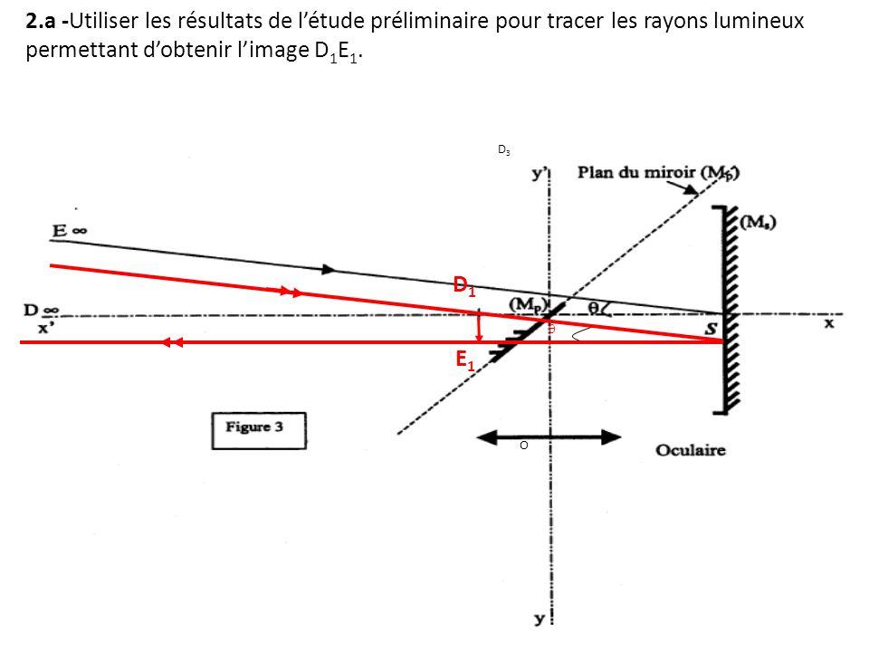 2.a -Utiliser les résultats de l'étude préliminaire pour tracer les rayons lumineux permettant d'obtenir l'image D1E1.