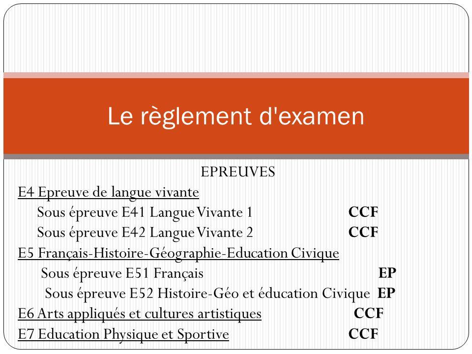 Le règlement d examen EPREUVES E4 Epreuve de langue vivante
