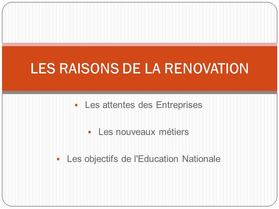 LES RAISONS DE LA RENOVATION