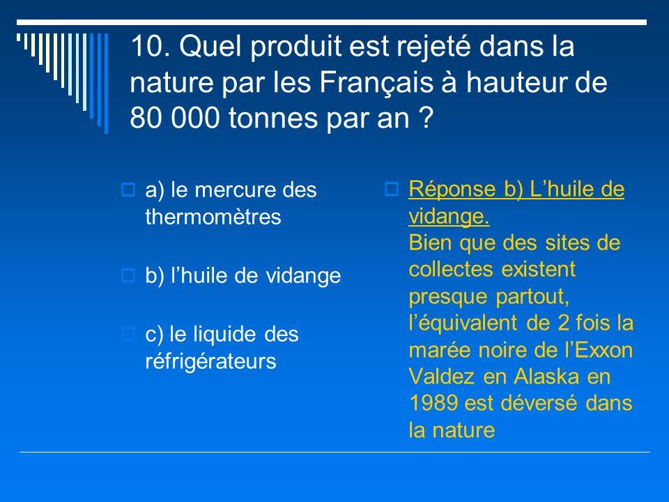 10. Quel produit est rejeté dans la nature par les Français à hauteur de 80 000 tonnes par an
