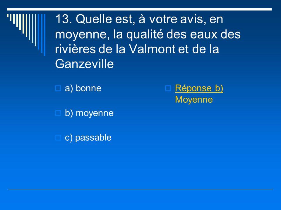 13. Quelle est, à votre avis, en moyenne, la qualité des eaux des rivières de la Valmont et de la Ganzeville