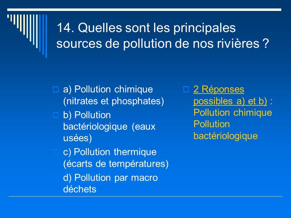 14. Quelles sont les principales sources de pollution de nos rivières