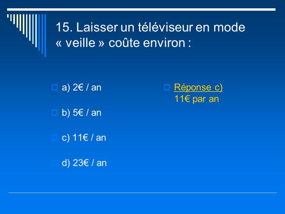 15. Laisser un téléviseur en mode « veille » coûte environ :