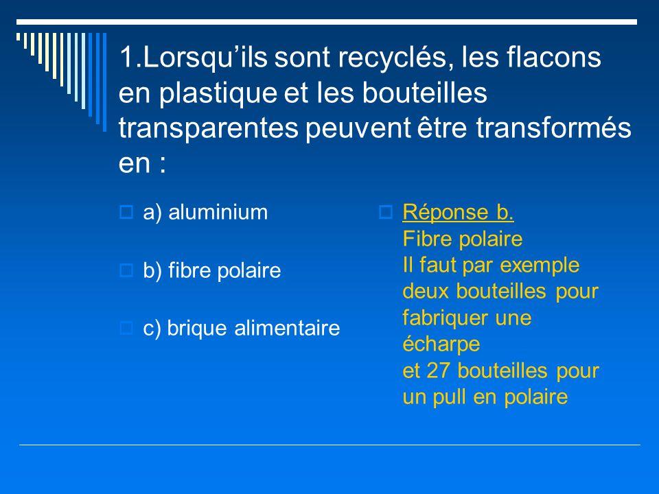 1.Lorsqu'ils sont recyclés, les flacons en plastique et les bouteilles transparentes peuvent être transformés en :