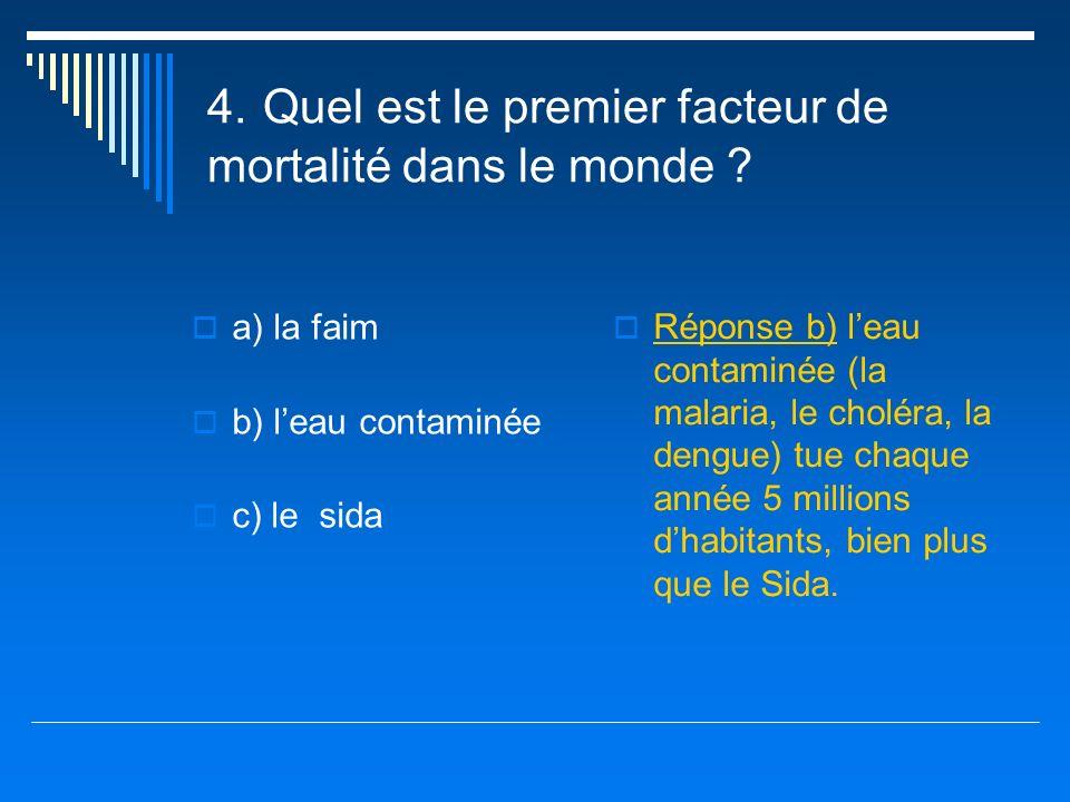 4. Quel est le premier facteur de mortalité dans le monde