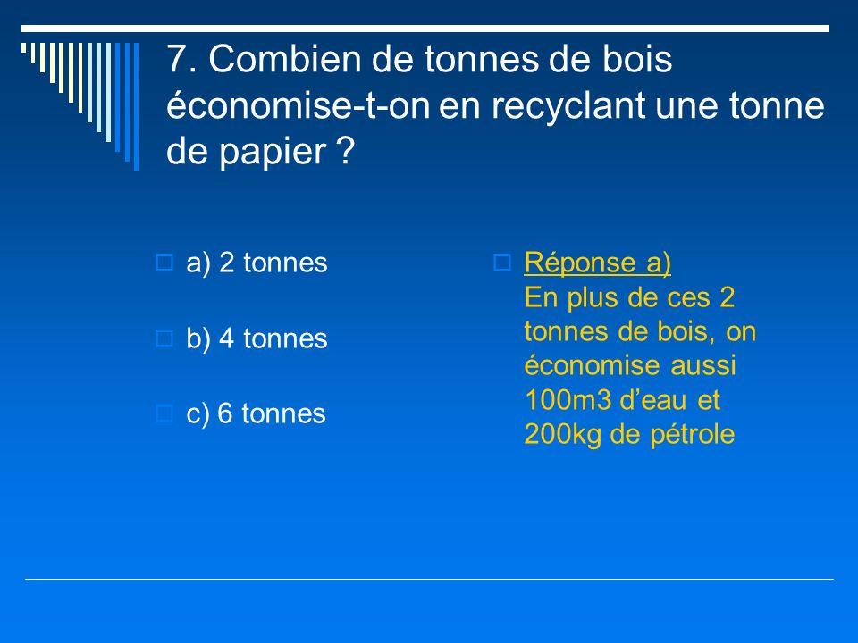 7. Combien de tonnes de bois économise-t-on en recyclant une tonne de papier