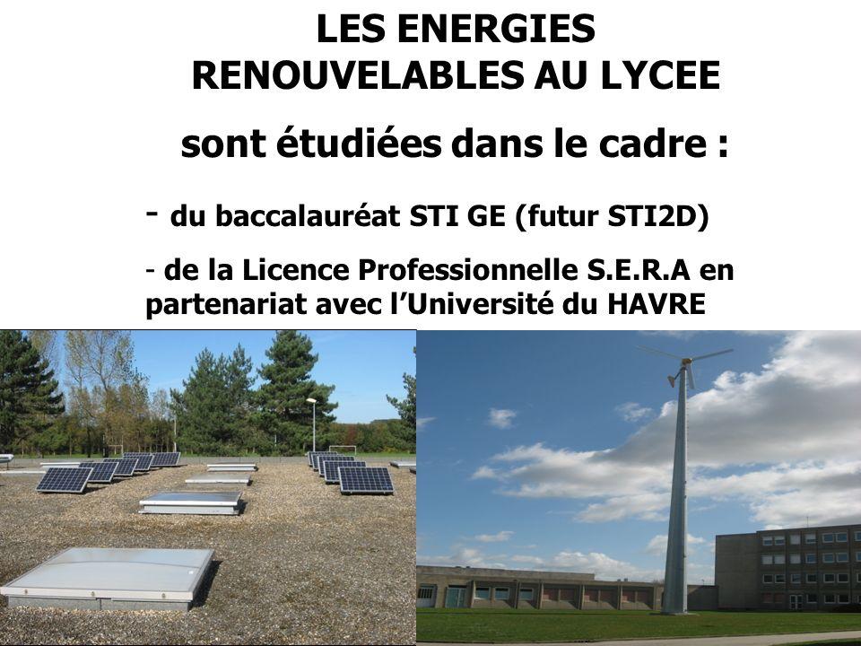 LES ENERGIES RENOUVELABLES AU LYCEE sont étudiées dans le cadre :