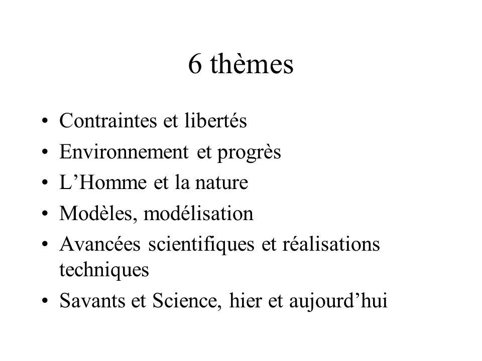 6 thèmes Contraintes et libertés Environnement et progrès