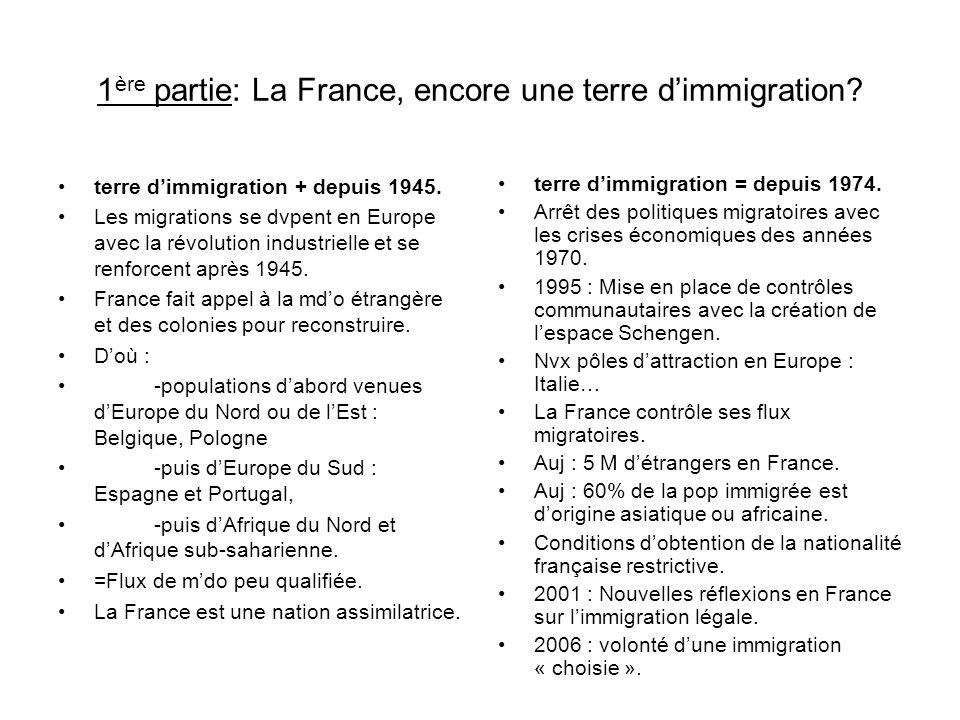1ère partie: La France, encore une terre d'immigration