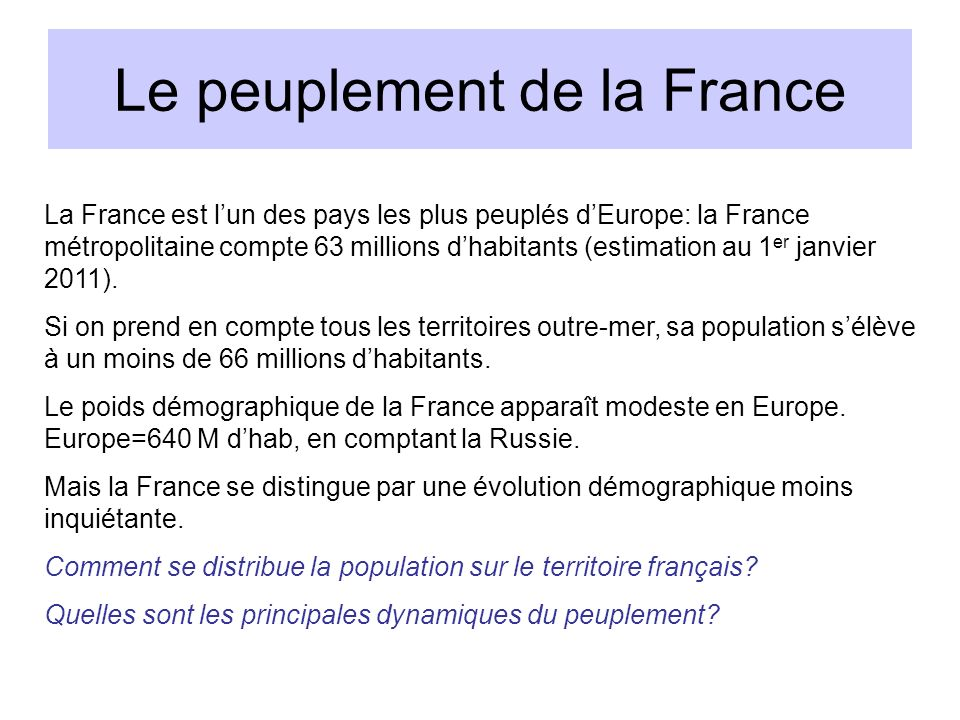 Le peuplement de la France
