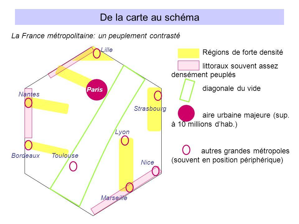 De la carte au schéma La France métropolitaine: un peuplement contrasté. Lille. Régions de forte densité.