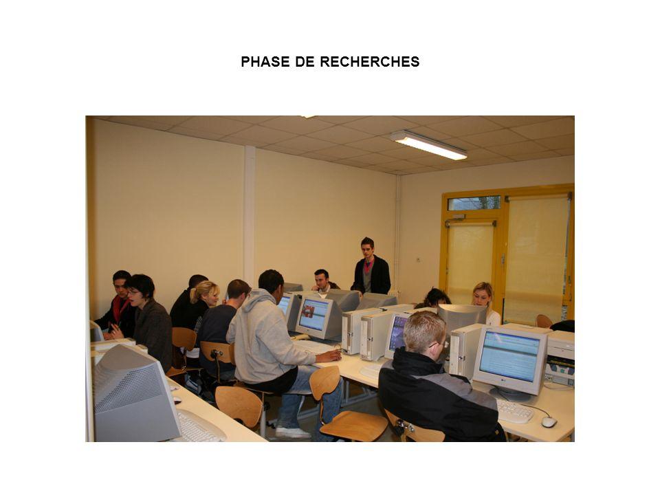 PHASE DE RECHERCHES