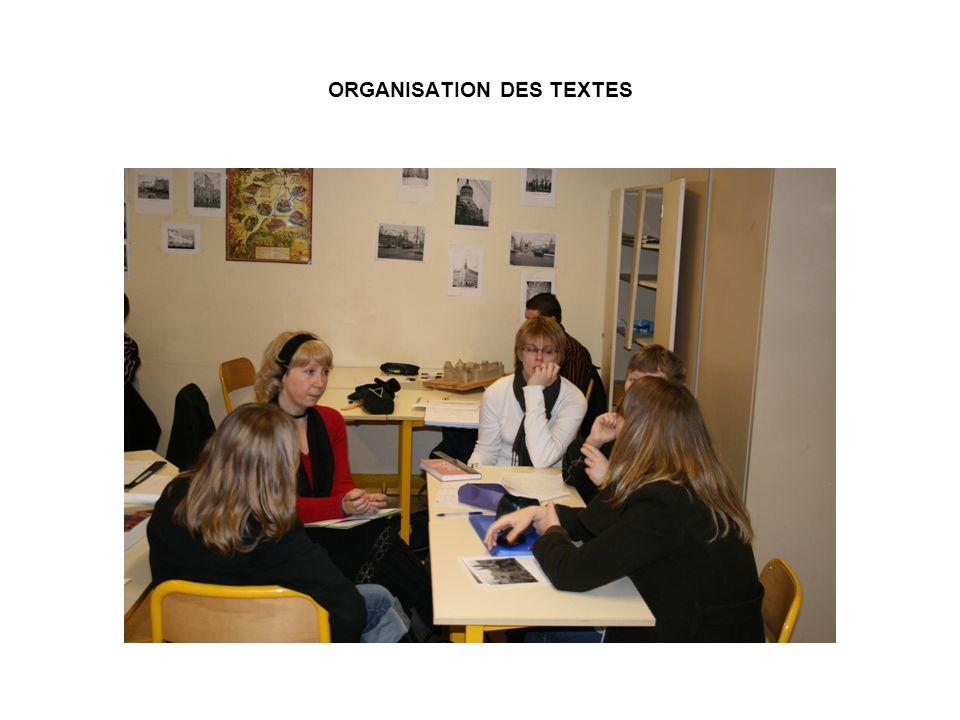 ORGANISATION DES TEXTES