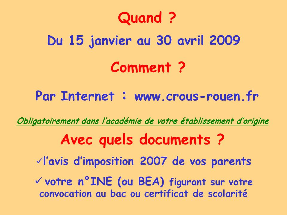 Quand Comment Avec quels documents